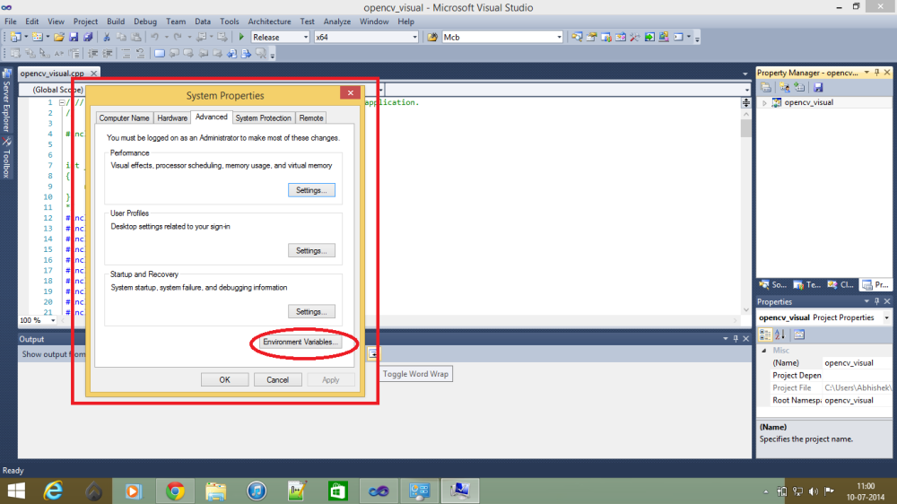 WORKING WITH OPENCV IN WINDOWS (1/6)